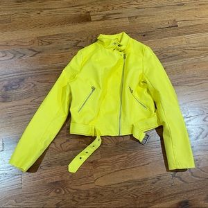 Faux Yellow Leather Jacket